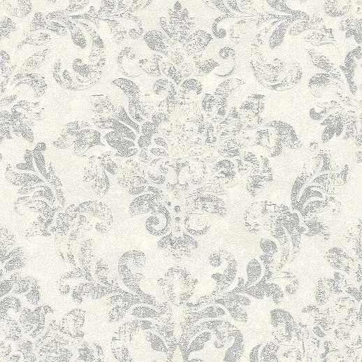 Szürke fehér rusztikus barokk mintás vlies dekor tapéta