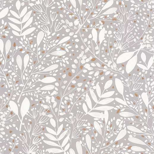 Szürke fehér skandináv stílusú levélmintás vlies prémium tapéta