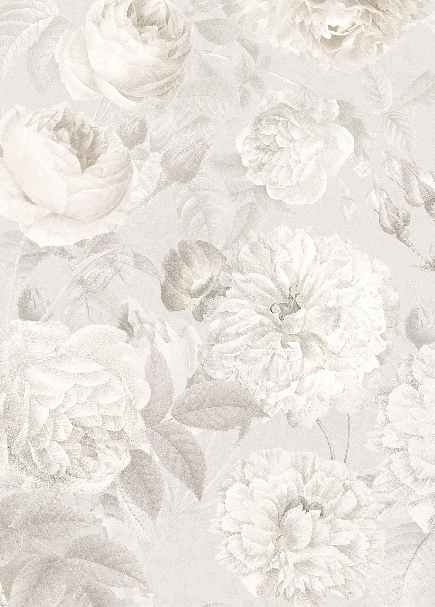 Szürke fehér virágok fali poszter