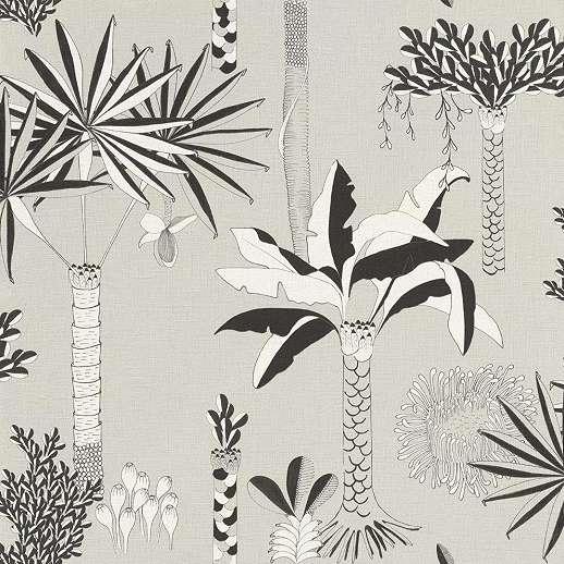 Szürke-fekete pálmafa mintás design tapéta skandináv stílusban