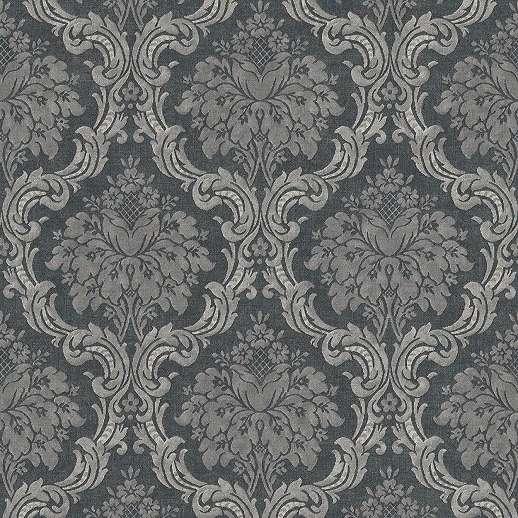 Szürke-fekete vlies barokk mintás klasszikus tapéta
