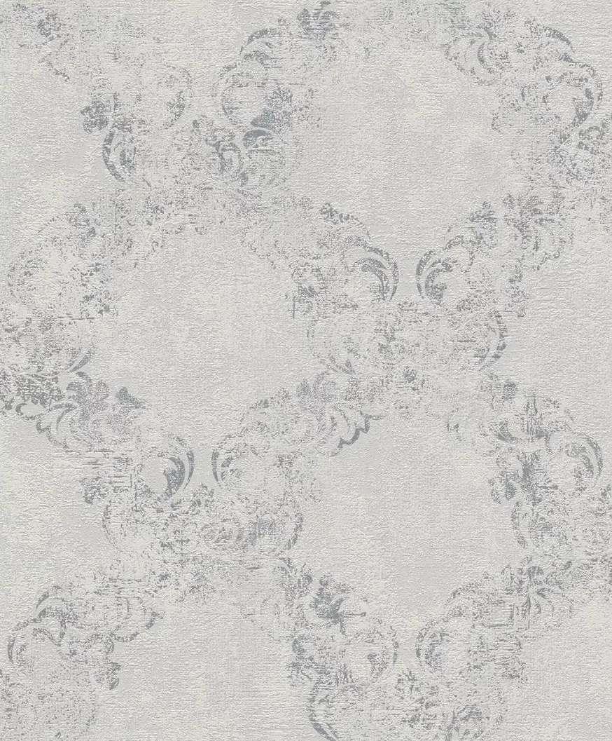 Szürke fényes mintafelületű barokk mintás vlies tapéta