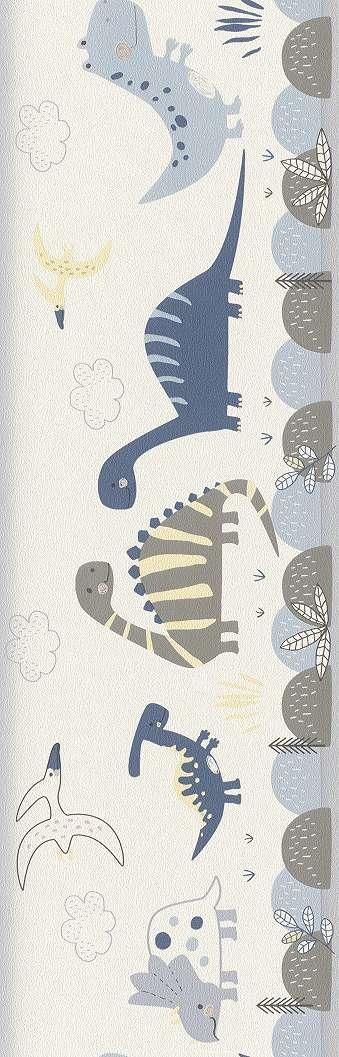 Szürke, kék dinós bordűr krémfehér alapon