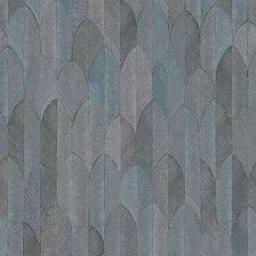 Szürke kék keleties hangulatú levélmintás vlies vinyl mosható felületű tapéta