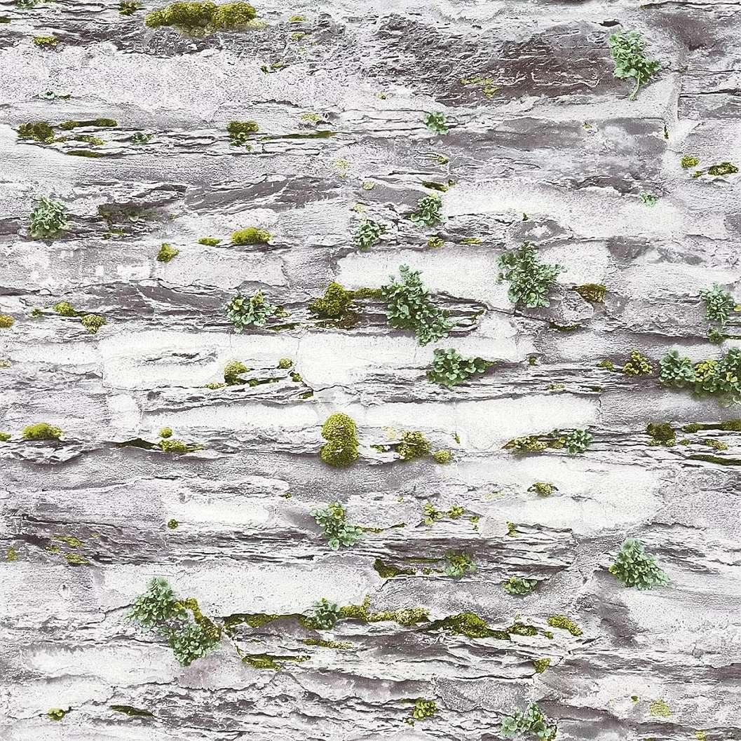 Szürke kőfal mintás tapéta zöld moha mintákkal
