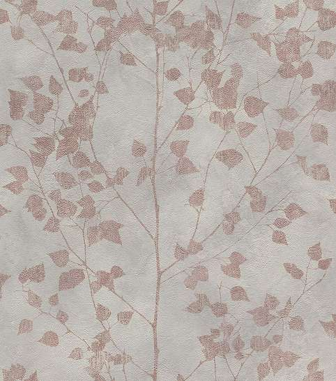 Szürke levélmintás vlies tapéta halvány réz színű levél mintával