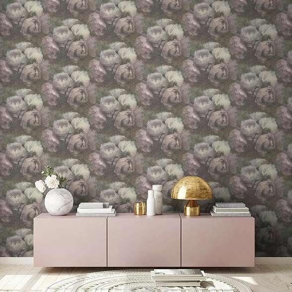 Szürke lila romantikus rózsa mintás mosható felületű dekor tapéta