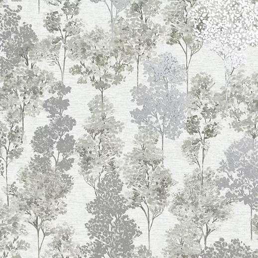 Szürke metál effekt hatású erdei fa mintás vlies design tapéta