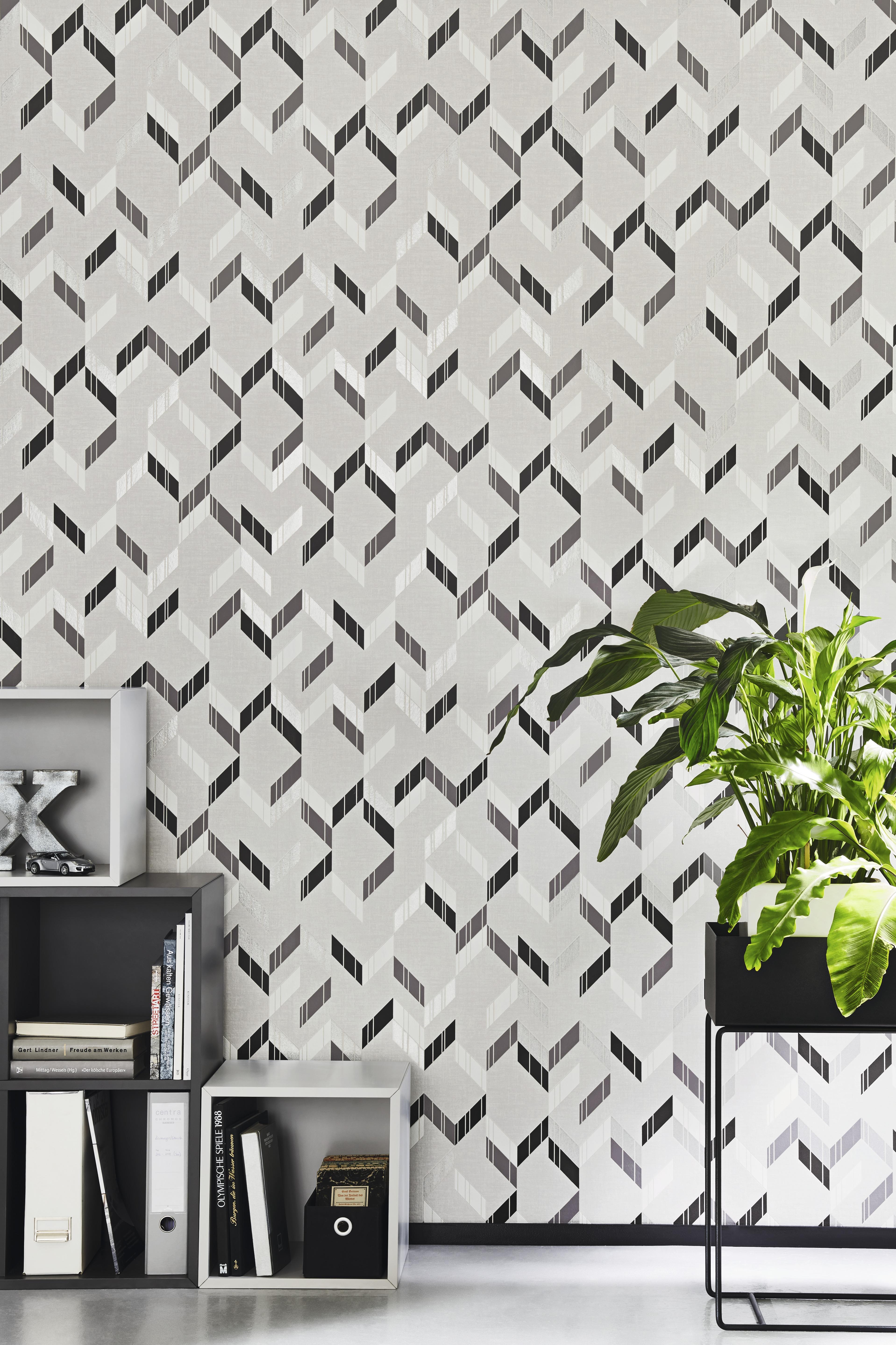 Szürke modern geometriai mintás tapéta ezüst fekete mintákkal