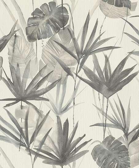 Szürke modern trópusi levélmintás tapéta