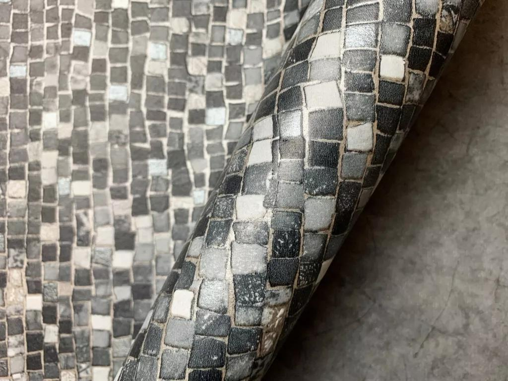 Szürke mozaik mintás vlies dekor tapéta