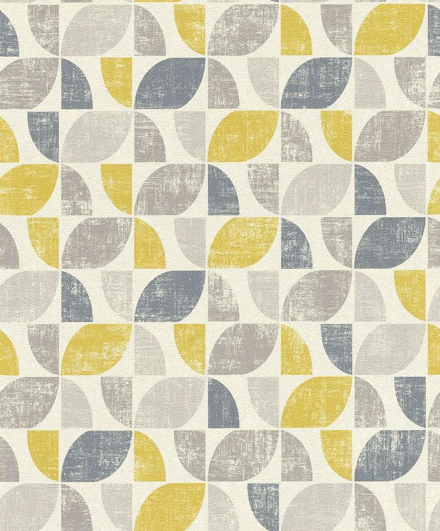 Szürke-mustársárga retró mintás tapéta