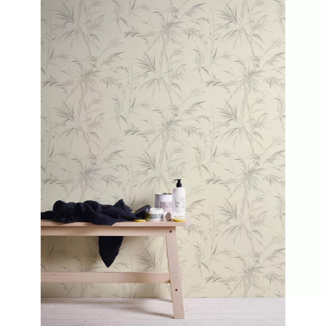 Szürke pálmalevél mintás vlies dekor tapéta mosható vinyl felülettel