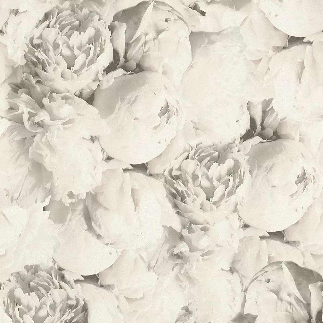 Szürke romantikus rózsa mintás vlies vinyl dekor tapéta