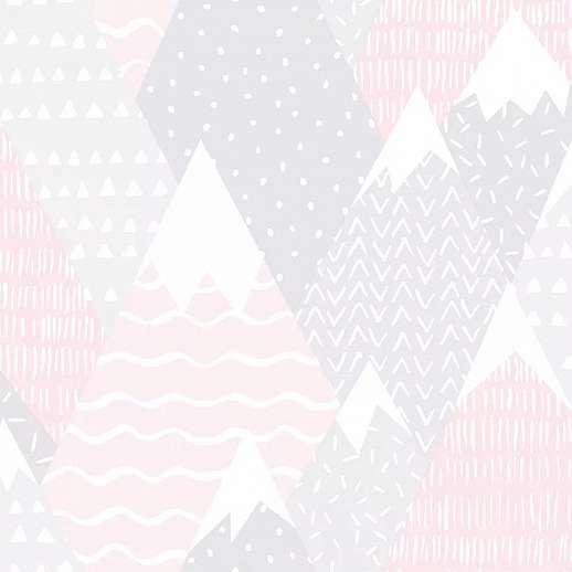 Szürke rózsaszín gyerektapéta skandináv stílusban hegycsúcs mintával