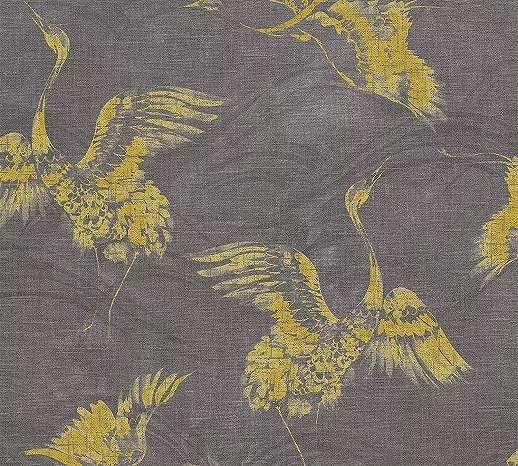 Szürke sárga madár mintás elegáns vlies tapéta