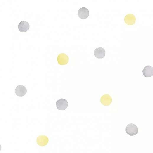 Szürke sárga pöttyös mintás gyerektapéta