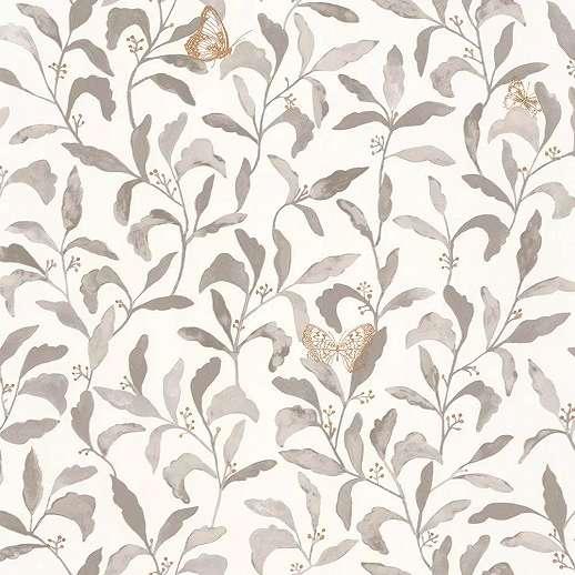 Szürke skandináv stílusú botaniks mintás vlies tapéta arany színű lepke mintával