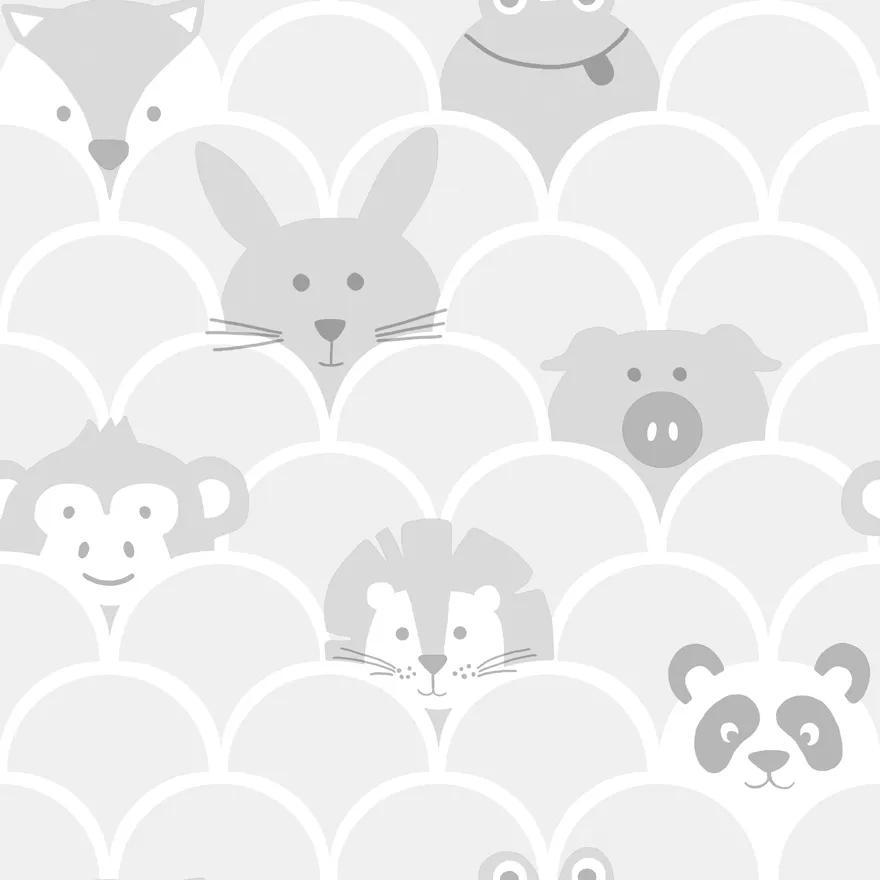 Szürke skandináv stílusú gyerektapéta kedves állat mintákkal