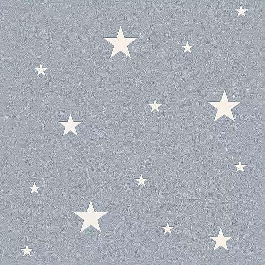 Szürke sötétben foszforeszkáló csillag mintás gyerek tapéta