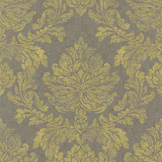 Szürke szövethatású alapon sárga klasszikus mintás tapéta