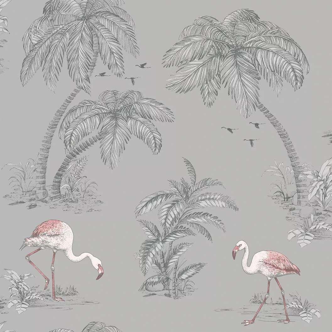 Szürke tapéta trópusi stílusban flamingó mintával