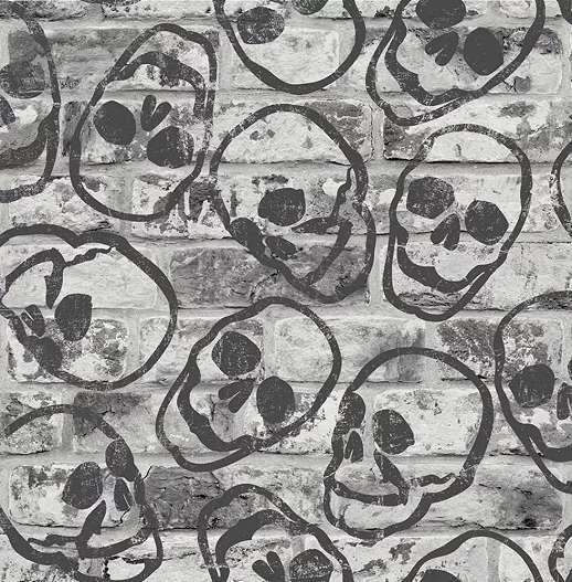 Szürke téglamintás tini tapéta koponya mintával
