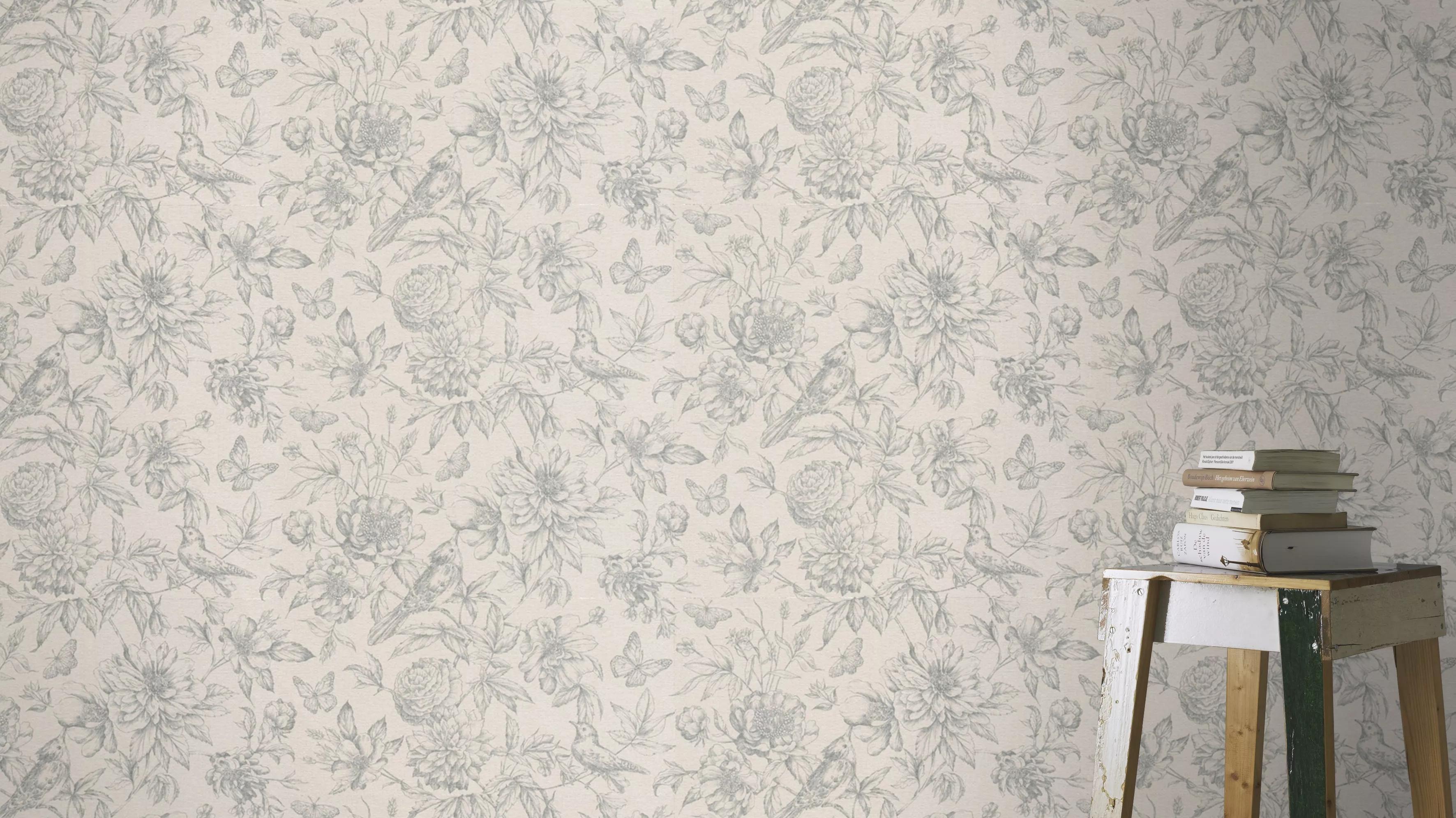 Szürke vintage hangulatú madár, virágmintás vlies tapéta