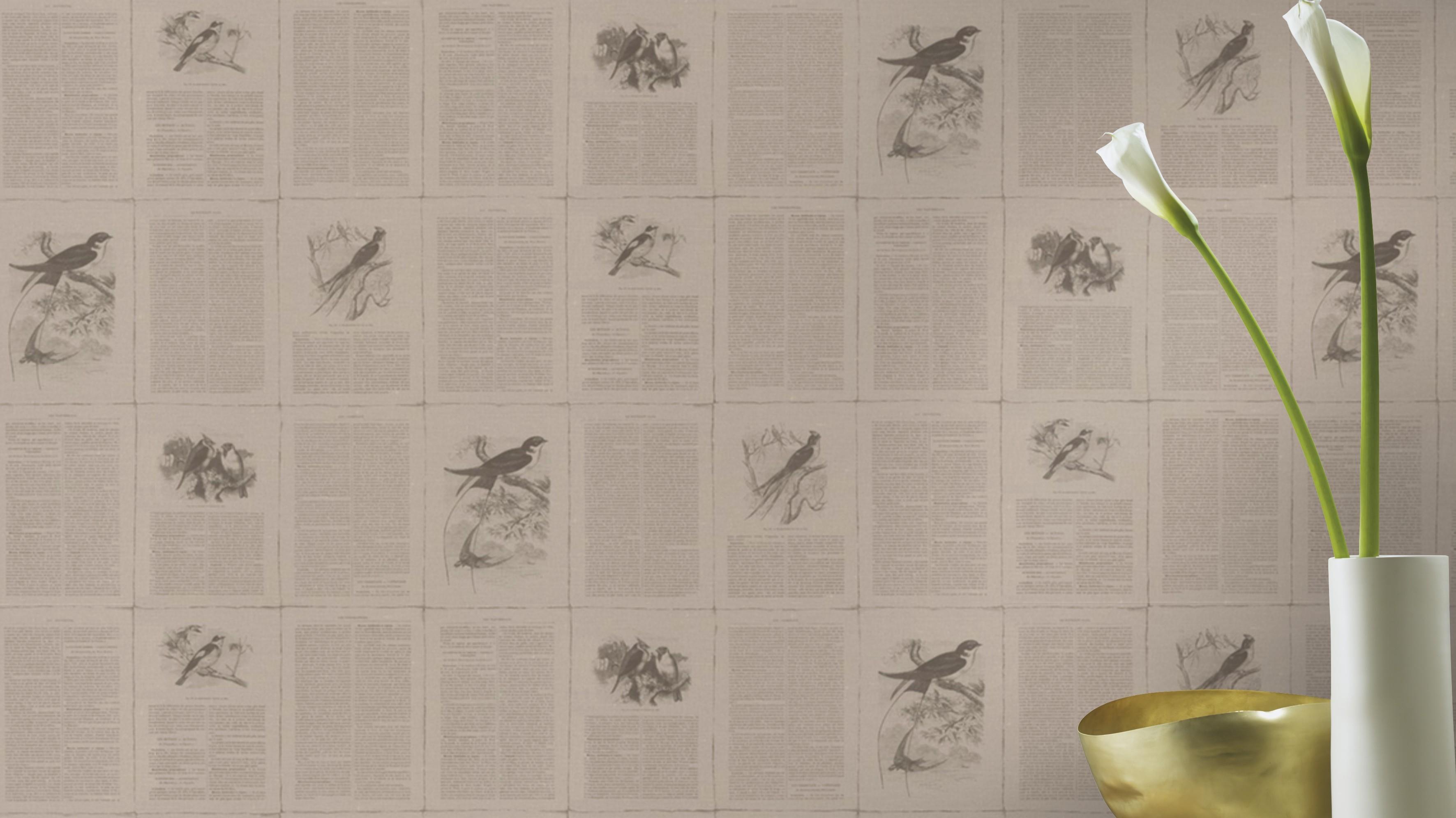 Szürke vintage madár mintás tapéta