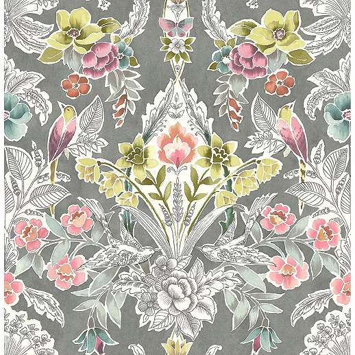 Szürke vintage virágmintás vlies prémium dekor tapéta
