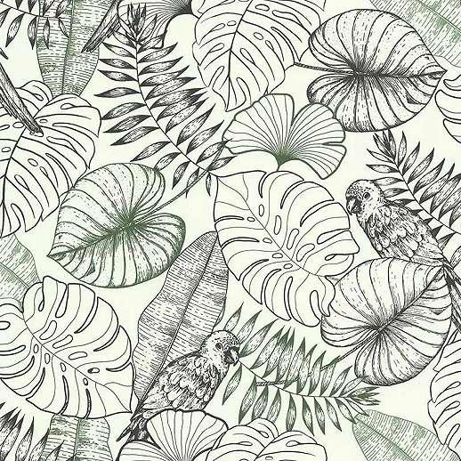 Szürke zöld modern botanikai stílusú pálma és papagáj mintás vlies tapéta