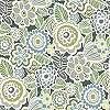 Szürke zöld skandináv stílusú virágmintás vlies dekor tapéta