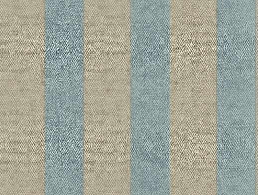 Szürkés drapp-kék csíkos tapéta, szövethatású alapon