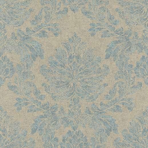 Szürkés drapp szövethatású alapon kék klasszikus mintás tapéta