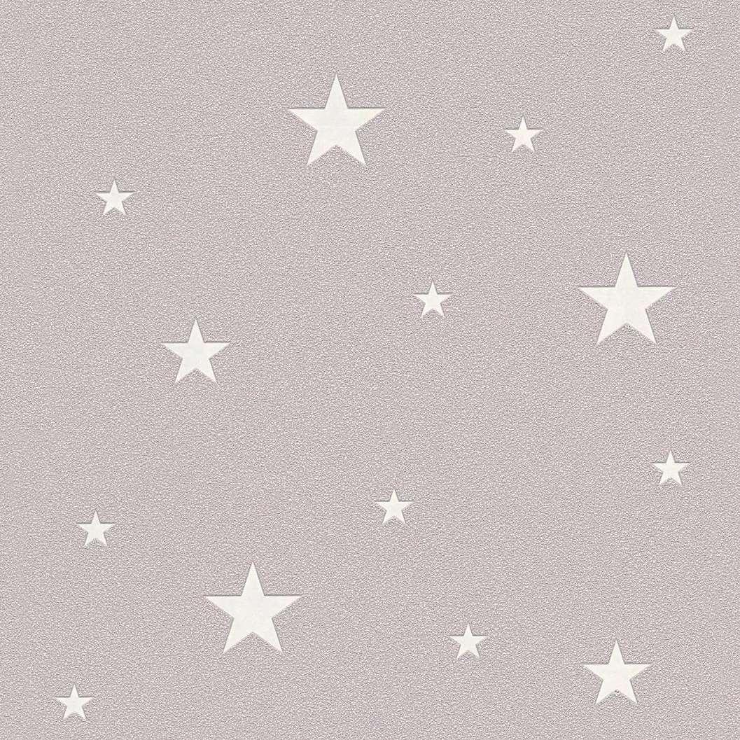 Szürkésbarna alapon foszforeszkáló csillag mintás gyerek tapéta