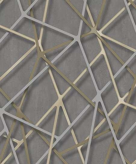 Szürkésbarna alapon modern 3D hatású geometrikus mintás vlies tapéta