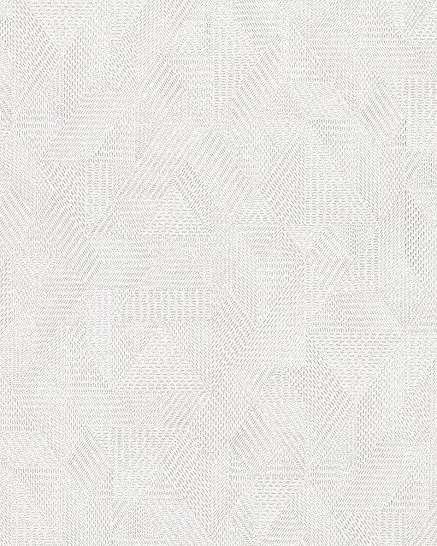 Szürkésfehér szövethatású geometrikus mintás vlies tapéta