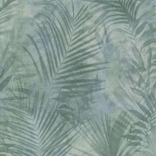 Szürkéskék modern pálmalevél mintás vinyl tapéta