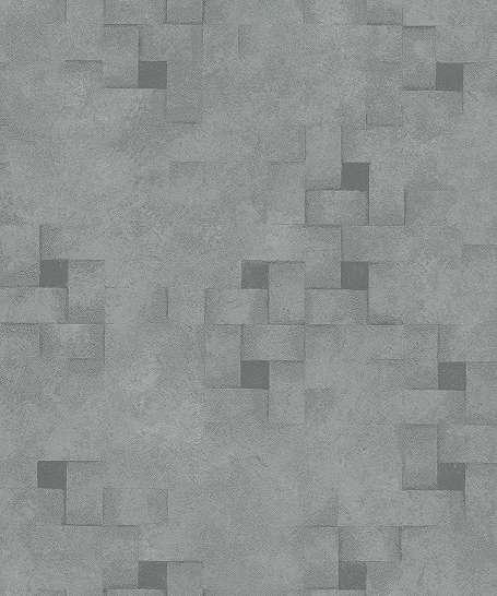 Szürkészöld modern tapéta kockás mintával
