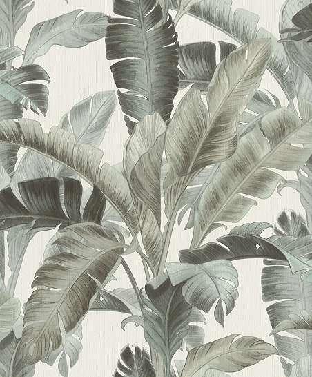 Szürkészöld szívilágú óriás pálmalevél mintás trendi dekor tapéta