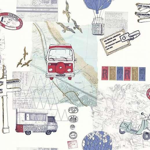 Tapéta az utazás kedvelőinek autó, motor mintával