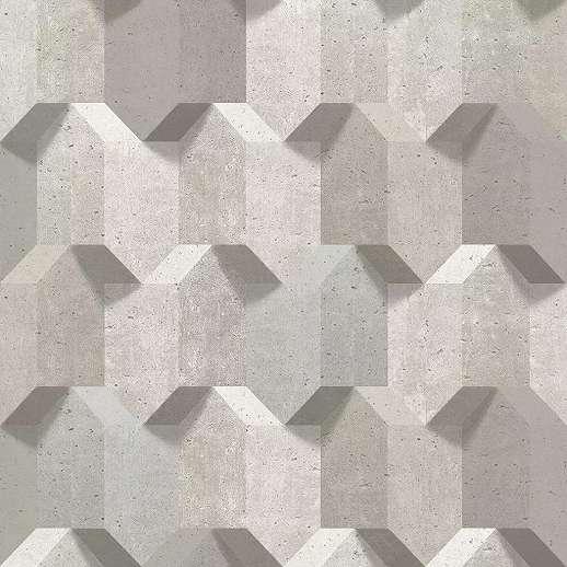 Tapéta betonhatású 3D geometria mintával szürke színben