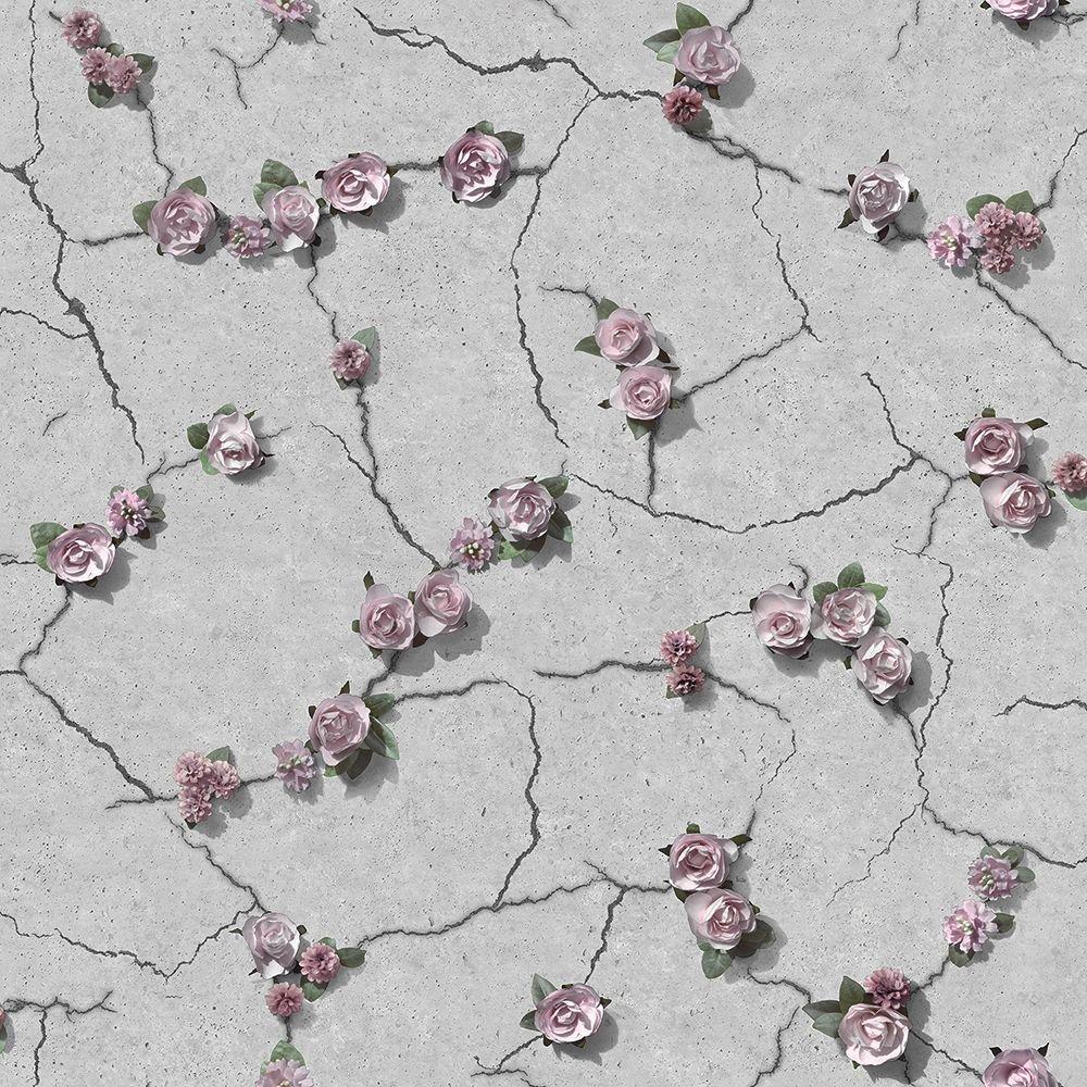 Tapéta betonhatású alapon előbújó rózsa mintákkal