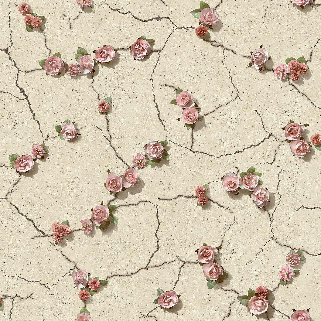 Tapéta betonhatású alapon rózsa mitákkal