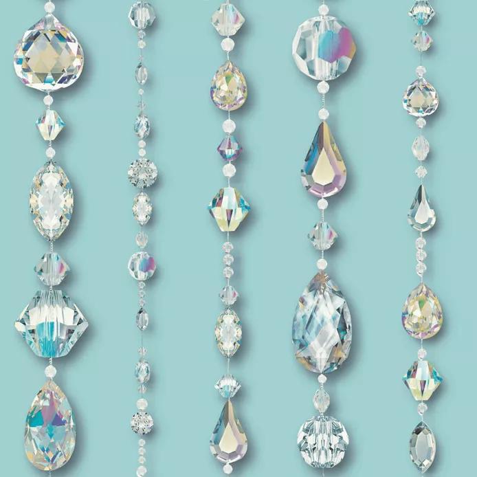 Tapéta csillogó gyémánt füzér mintával türkíz alapon
