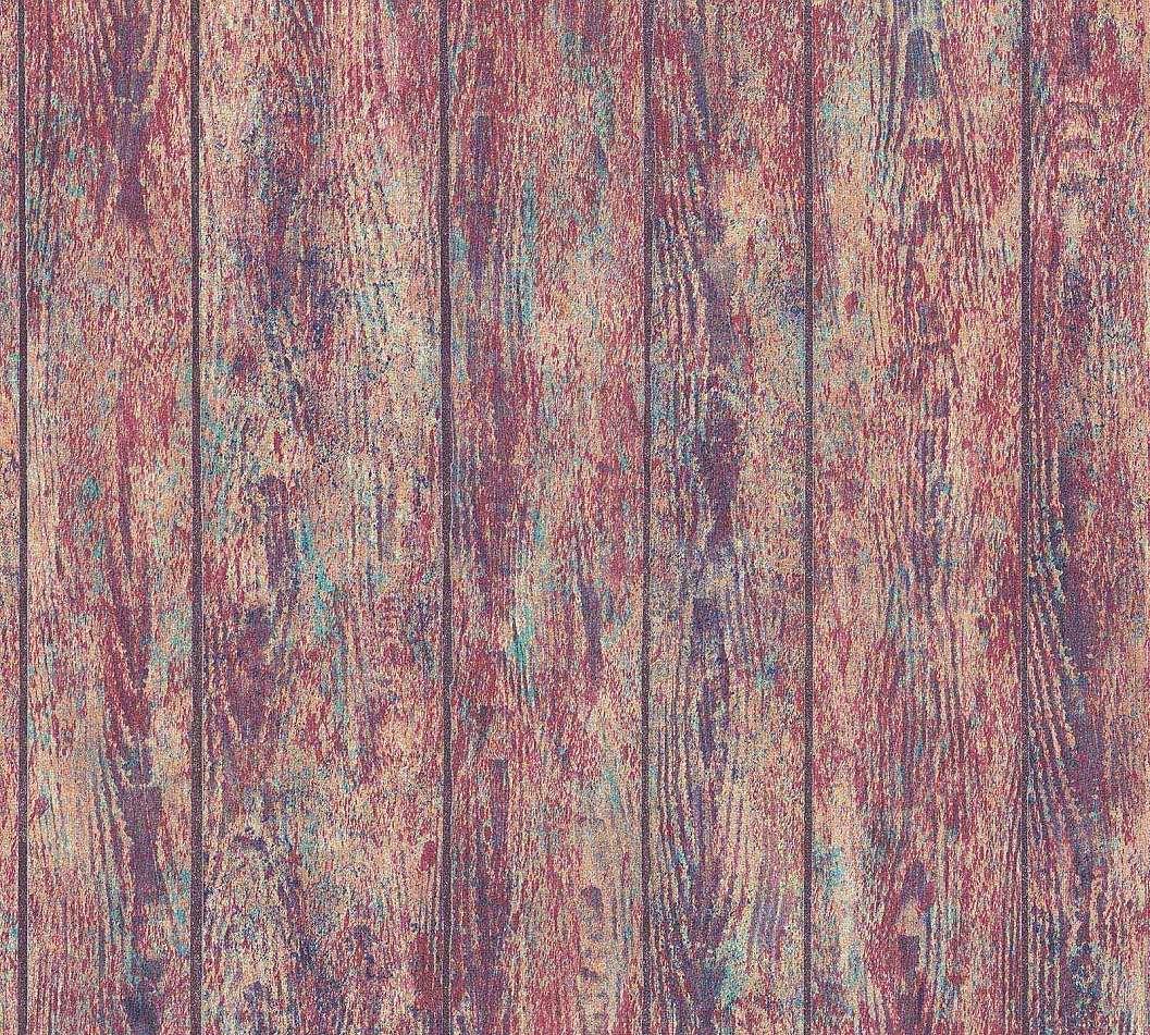 Tapéta deszka mintával domináns barna színnel keveredő sokszínű mintával