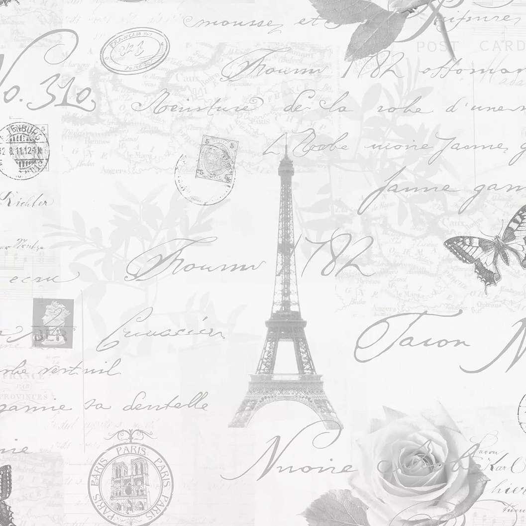 Tapéta Eiffel Torony mintával szürke színben
