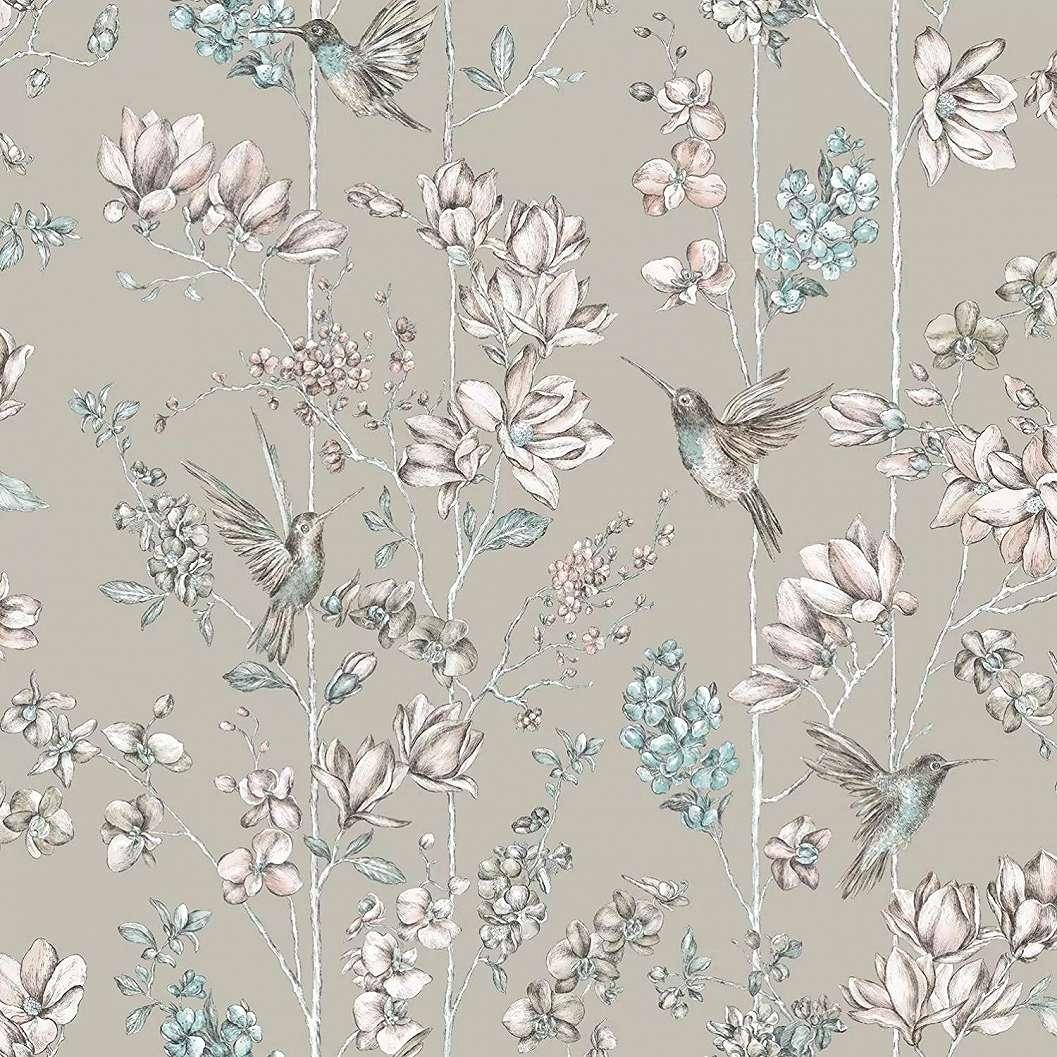 Tapéta ezüstszürke alapon madár és virágmintával