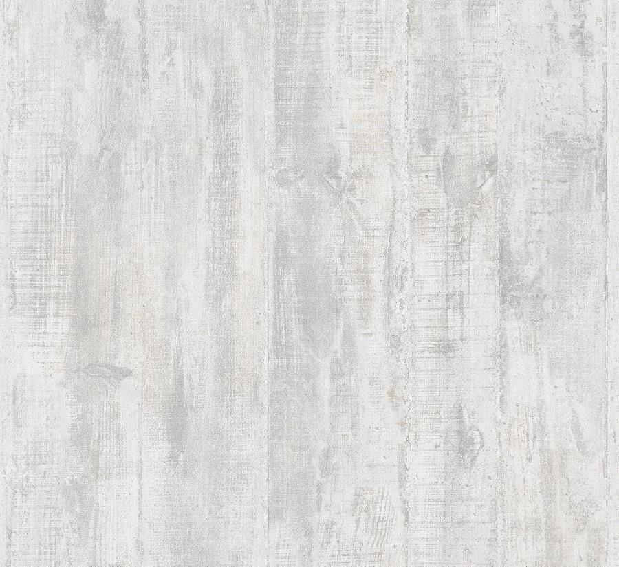 Tapéta fahatással deszka mintával fakó szürke színben