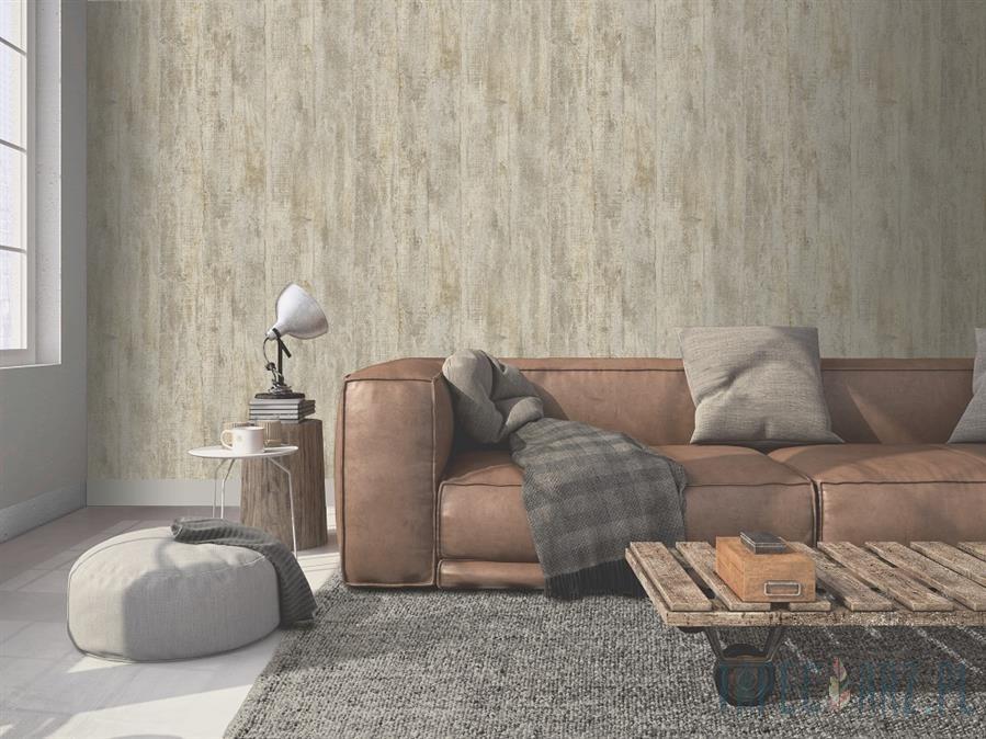 Tapéta fahatású barna krém színben deszka mintával